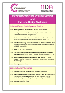Universal Design Seminar and Workshop November 6 front page preview