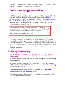 Online meeting accessibility - Supplement to the Customer Communications Toolkit front page preview