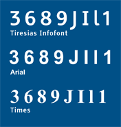 sample typeface of tiresias, arial and times