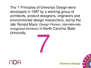The 7 Principles of Universal Design were developed in 1997 by a
