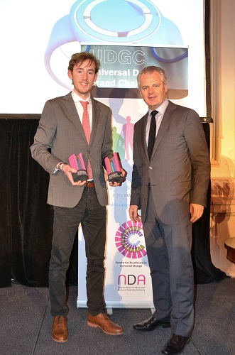Winner Christopher Wallace with Andrew Bradley,President of Institute of Designers in Ireland