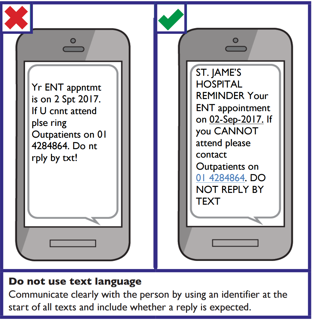 When communicating by text message do not use text language. Communicate clearly with the person by using an identifier at the start of all texts and include whether a reply is expected or not.