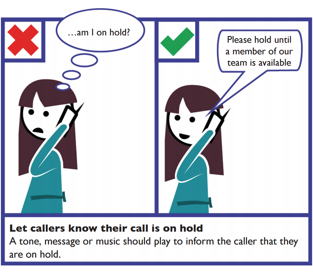 Telephone callers – let the callers know their call is on hold. A tone, message or music should play to inform the caller that they are on hold