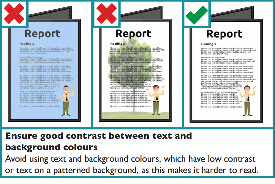The image shows three examples of contrast between text and background colours. Avoid using text and background colours or patterns which have low contrast between the text and the background.