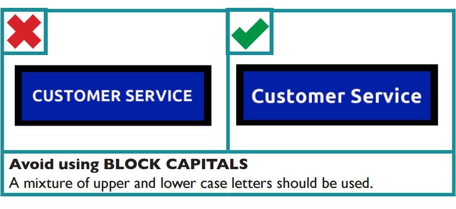 Do not use block capitals, a mixture of upper and lower case letters should be used