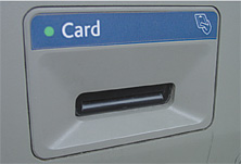 Card reader with funnel
