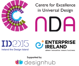 Logos: NDA, Irish Design 2015, Enterprise Ireland.  Supported by Design Hub, Tullamore